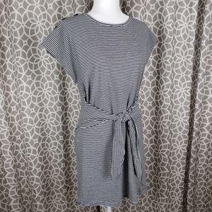 Bobeau Button Shoulder Tie Front Striped Dress
